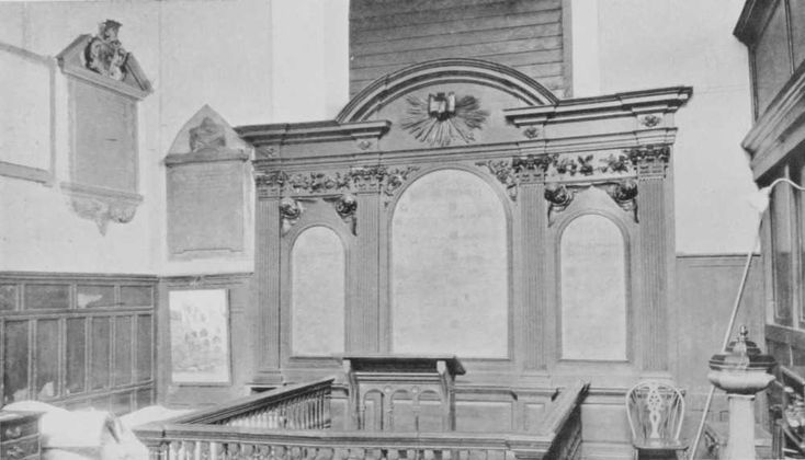 Plate 44: Reredoses | British History Online -  CHURCH OF THE HOLY TRINITY, MINORIES.