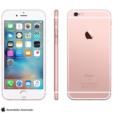 """Imagem para iPhone 6s Rosa Dourado, com Tela de 4.7"""" 4G, 16 GB, e Câmera de 12 MP - MKQM2BZA a partir de Fast Shop"""
