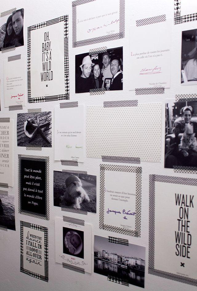 Mur de photos noires et blanches joliment scotchées de motifs!