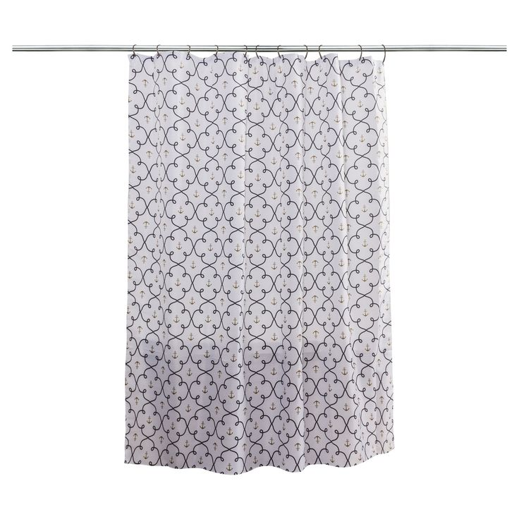 Anchors Shower Curtain White Navy Chest Gold - Splash Home
