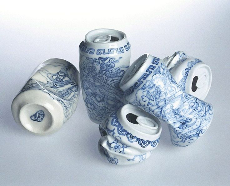 Porcelain, 5 by Lei Xue, 2007. Trashed aluminium cans in the porcelain style.