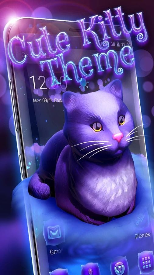 A hot, new theme is here!! Cute kitty launcher theme is what I dream about! Don't you?