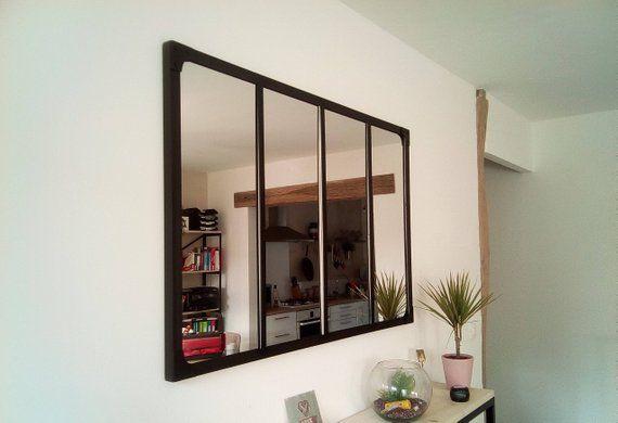 Mirror Style Industrial Canopy 100 X 120 Cm Miroir Industriel Miroir Style Verriere Miroir