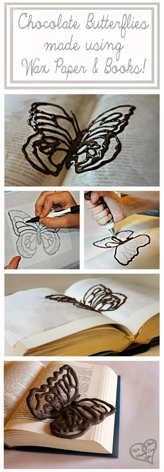Make Chocolate Butterflies Using Wax Paper and Books! This would be awesome on a cake.