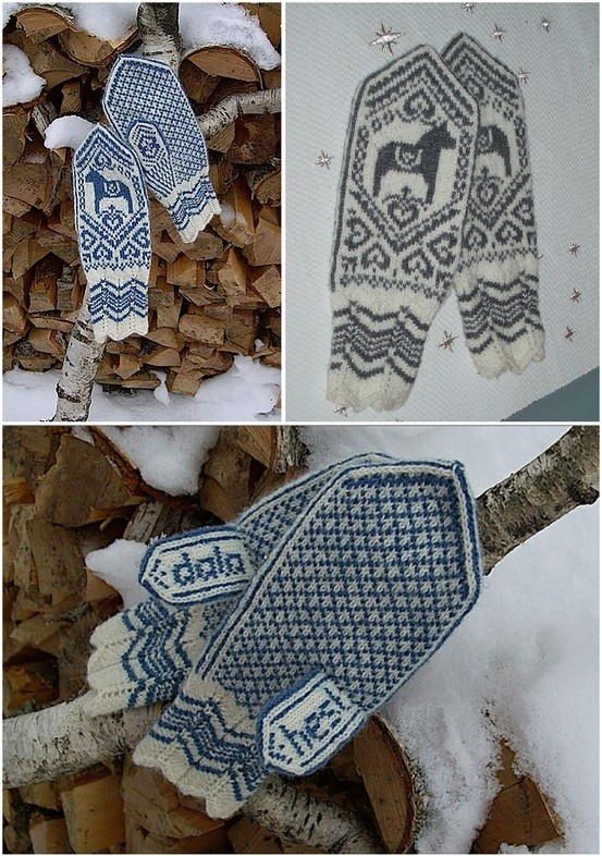 Dala horse mittens free knitting pattern --- The word 'hest' should be 'häst' as this is the Swedish word for horse - The Dala horse is a famous Swedish regional symbol.