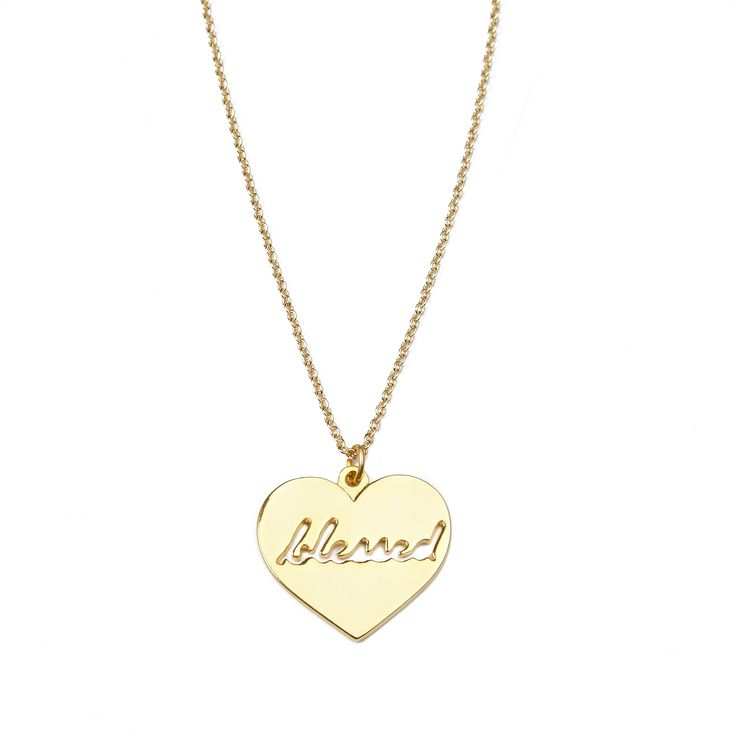 """Blessed necklace - available in gold and silver. Get 25% off this necklace with code """"foxypin"""" http://www.foxyoriginals.com/Blessed-Necklace-in-Gold.html Tags: gold, necklace, heart jewelry, inspirational jewelry"""
