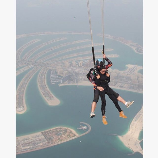 Flying up in the air in Dubai 💪💪💪  Aneha Lal is wearing the Original Onesie