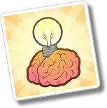 brain with lightbulb