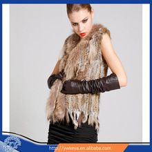 Wholesale 2015 fashion lady knitted genuine rabbit fur vest with raccoon collar Best Buy follow this link http://shopingayo.space
