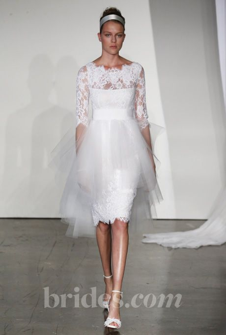 """Marchesa - Fall 2013. """"Femke"""" lace cocktail wedding dress with grosgrain belt and tulle skirt overlay"""