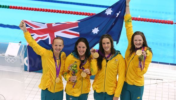 SWIMMING: The quartet of Alicia Coutts, Cate Campbell, Brittany Elmslie and Melanie Schlanger have won Australia's first gold of the 2012 London Olympic Games with a stunning performance in the women's 4x100 metre freestyle relay - the final event of the first finals session.    The Aussies set an Olympic record of 3:33.15 to crush the Netherlands' hopes of back to back Olympic crowns, the Dutch settling for silver in 3:33.79 and the USA the bronze in 3:34.24.