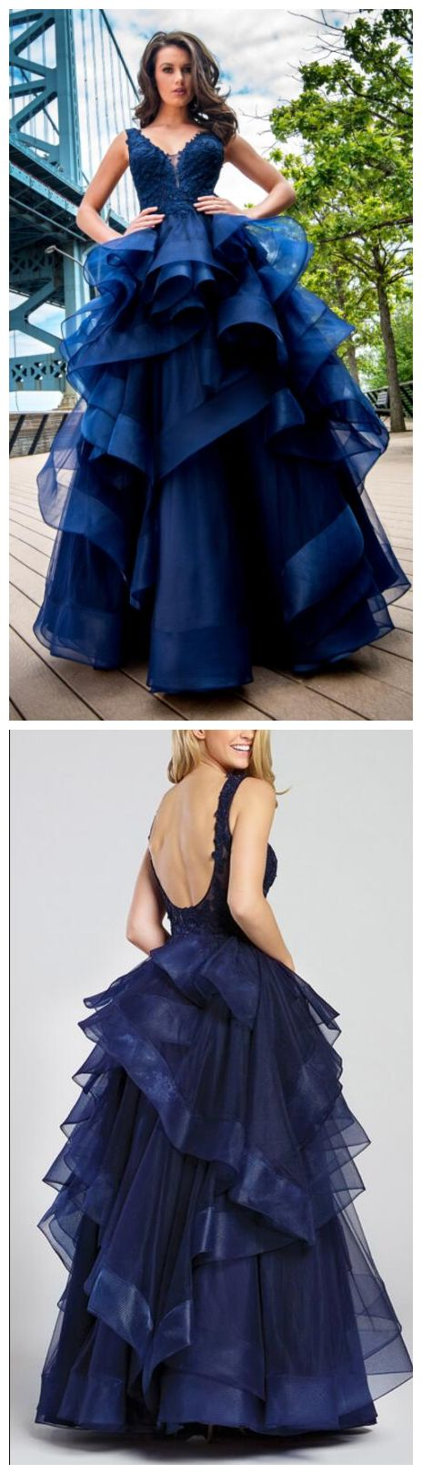 Prom Dresses ,Fashion Ball Gown Navy Blue Prom Dresses V Neck Backless Lace Appliques Ruffles Organza Floor Length Evening Party Dress Women Formal Dr from mfprom