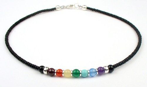 Chakra Jewelry - Chakra Balancing Beaded Anklet - Sterling Silver, Pearls, and Swarovski Crystal Beaded Anklets/Ankle Bracelets.