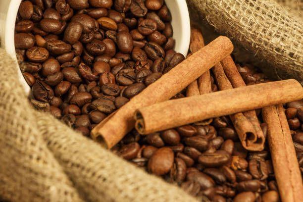 coffee grain in a bag with cinnamon