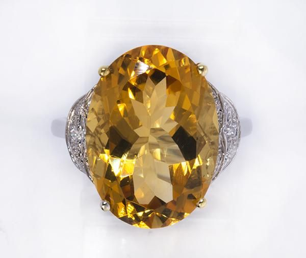 Citrine, diamond and 14k white gold ring - Price Estimate: $200 - $400