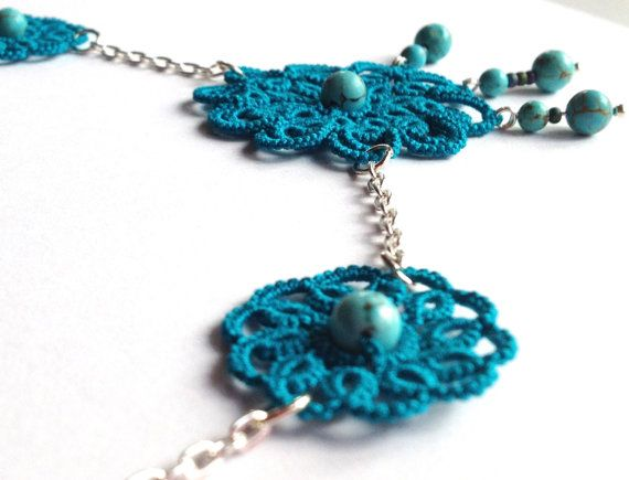 """Teal tatted lace necklace,  floral - """"Sleeping Beauty"""" collection"""