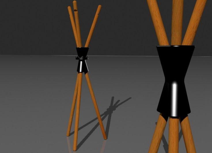 Assoluta sintesi e chiarezza: tutto in vista, nel segno della semplicità e della VERITà DELLA FORMA. La forma scaturisce solo da necessità tecniche e funzionali. Il giunto, da elemento tecnico, diventa fulcro generatore dell'immagine complessiva. E' composto da sei elementi in legno a sezione circolare tenuti assieme da un giunto in ceramica. Per iI montaggio i 'bastoni' vengono inseriti a pressione in appositi fori del giunto.  Una guarnizione in gomma ricavata da camere d'aria di ...