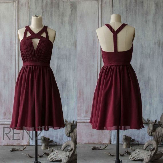 Party Dress Wine Chiffon Bridesmaid Dress Keyhole Evening Dress Short A-line Prom Dress Sleeveless Open Back Short Cocktail Dress (F046)