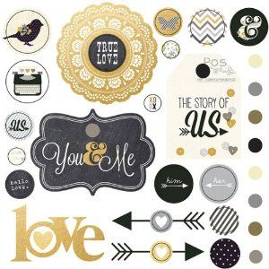 Simple Stories The Story of Us Decorative Brads Wedding Scrapbook Embellishments - 11 Main