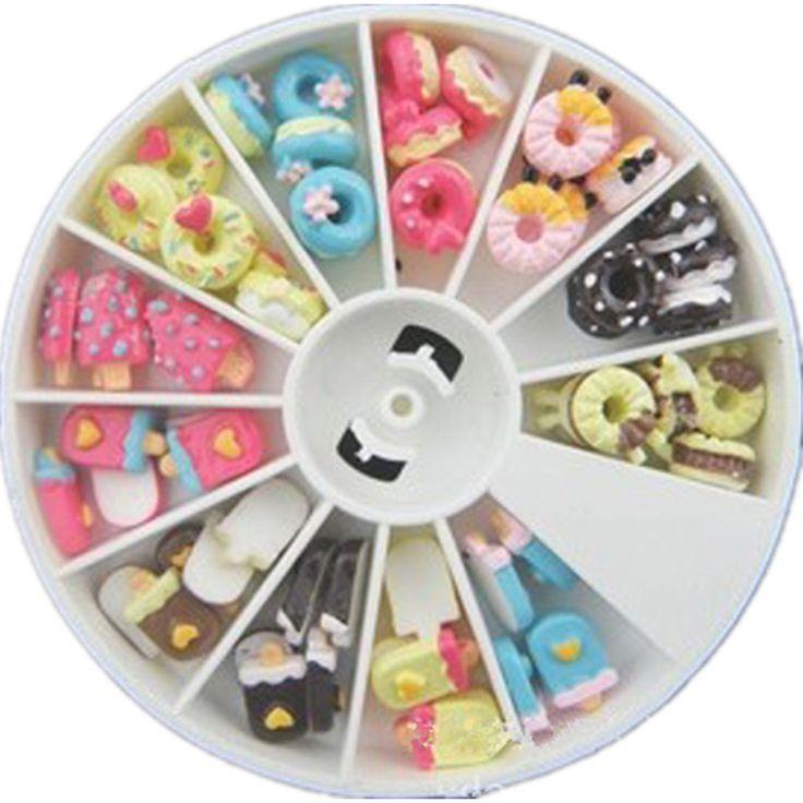 Eis Donut Design Harz 3D Nageldekorationen Rad 48 STÜCKE Dessert Nägel Zubehör Telefon Dekoration