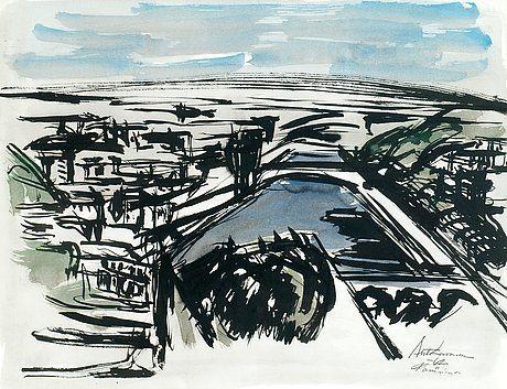 Ahti Lavonen: Näkymä Seinelle, 1962, vesiväri, 51,5x66,5 cm - Bukowskis