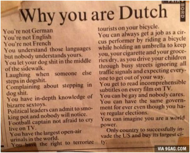Funny news article in the paper, where a lot of Dutch people can relate to.