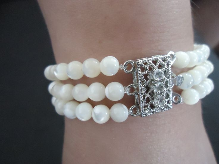 Hand made bracelet with Ohrid pearls. by KnittedSilver on Etsy