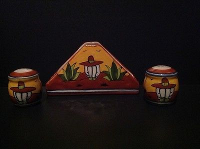 Southwestern-Napkin-Holder-And-Salt-amp-Pepper-Shakers-Hecho-Mexico