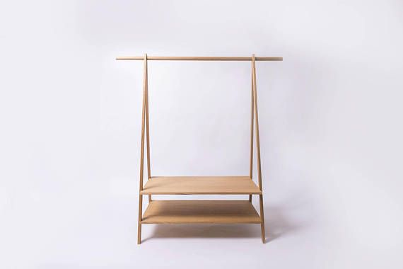 Solid timber clothes rack and shelves made from Victorian Ash. Solid and stylish, these clothes racks are ideal for those of us living in an older style house without built-in wardrobes in the bedrooms. The clothes rack measures 150cm at its widest point and is 155cm tall. The