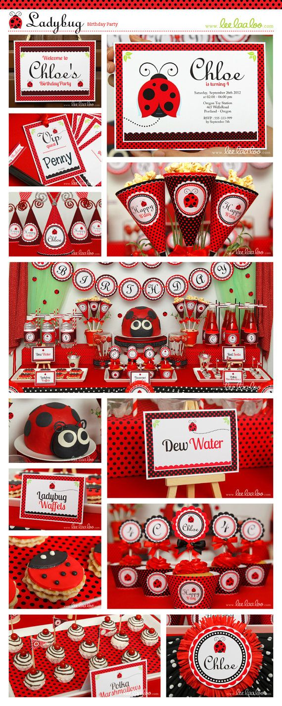 Ladybug Birthday Party Invitation Personalized by LeeLaaLoo