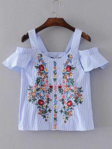 Blusa túnica de rayas verticales con bordado