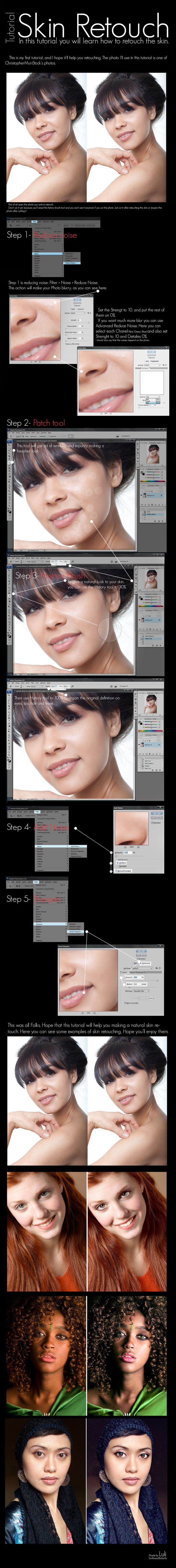 Skin Retouch Tutorial by ~Lore03 on deviantART....don't quite believe in photoshop for these purposes, but good to know what is all behind a re-touched photo