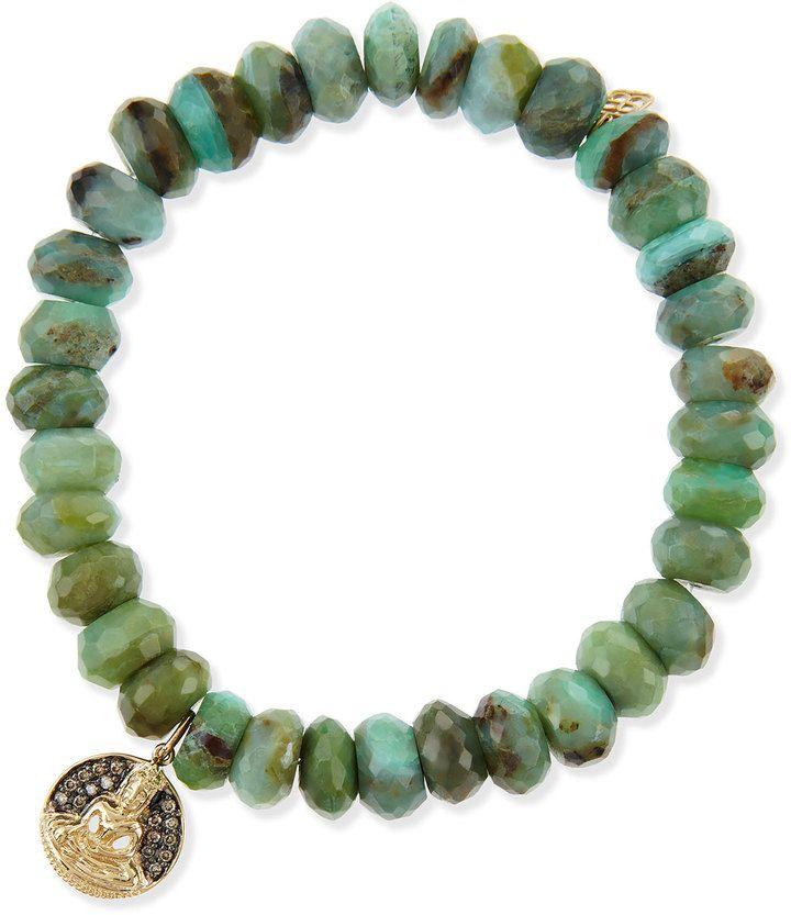 Sydney Evan Buddha Medallion Green Opal Bead Bracelet with Champagne Diamonds