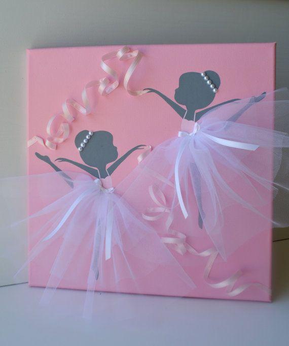 Danse des ballerines en rose et blanc. Sticker de pépinière.