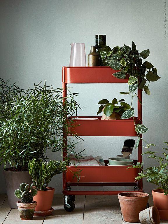 Deze RÅSKOG roltafel is zowel praktisch als decoratief | IKEA IKEAnederland IKEAnl tafel opbergen opberger rood planten decoratie accessoires handig inspiratie trolley
