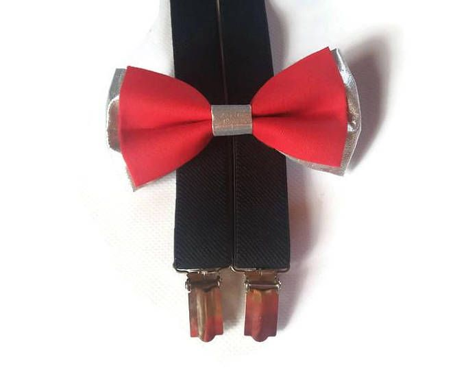 red and silver bow tie BLACK suspenders men set for wedding accessories bowties for groomsman , toddlers, infant, groom , ringbearer BH1-8
