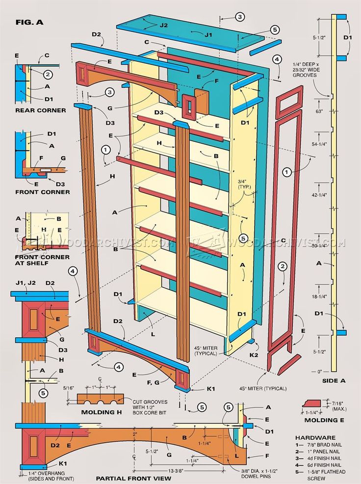 #1192 Traditional Bookcase Plans - Furniture Plans