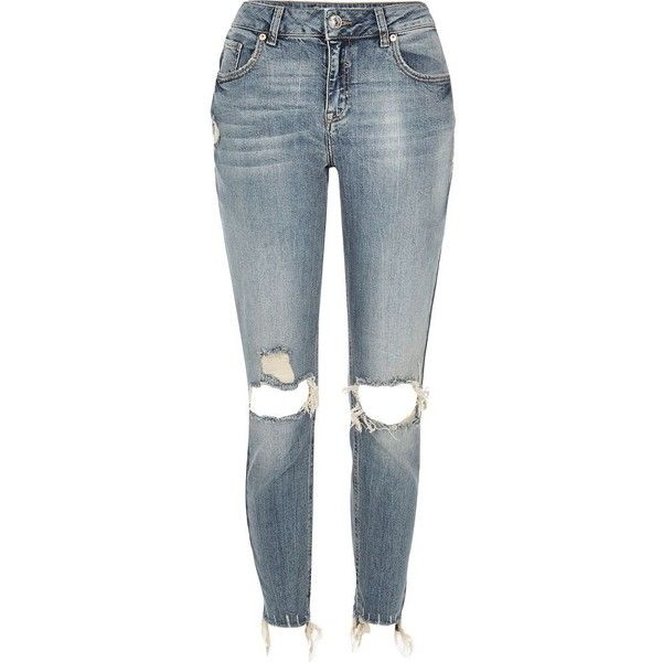 River Island Mid blue wash Alannah relaxed skinny jeans (£42) ❤ liked on Polyvore featuring jeans, pants, bottoms, blue, river island, women, skinny jeans, destroyed skinny jeans, super skinny jeans and blue ripped jeans
