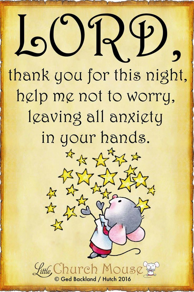 ☆☆☆ Lord, thank you for this night, help me not to worry, leaving all anxiety in your hands. Amen...Little Church Mouse 30 July 2016 ☆☆☆