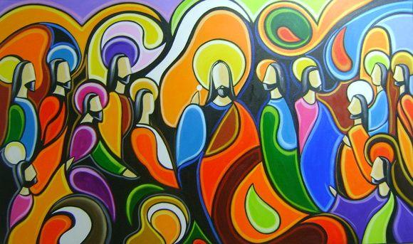Pintura A Mão Santa Ceia www.katiaalmeidaart.com.br 70x120 Cod 951 Obra a venda