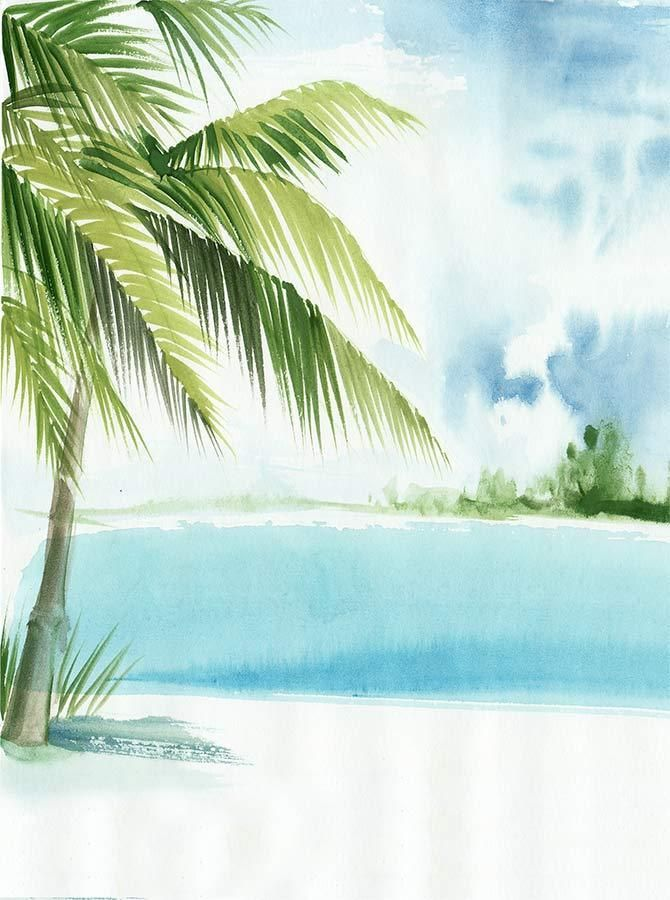 Watercolor Palm Tree Beach Scene Printed Backdrop 6368 Beach