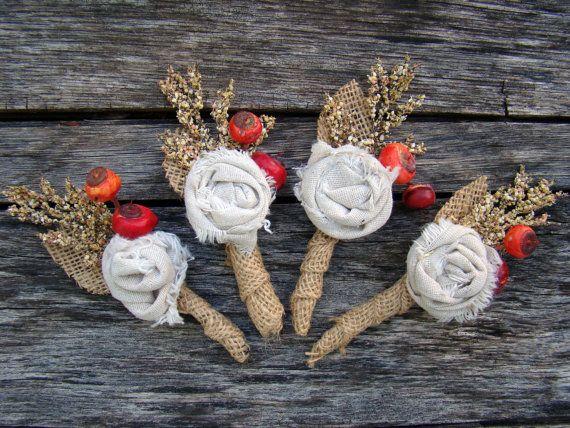 Burlap Rustic Wedding Boutonniere  Groom Groomsmen  Fall  Fabric Flower. $12.00, via Etsy.