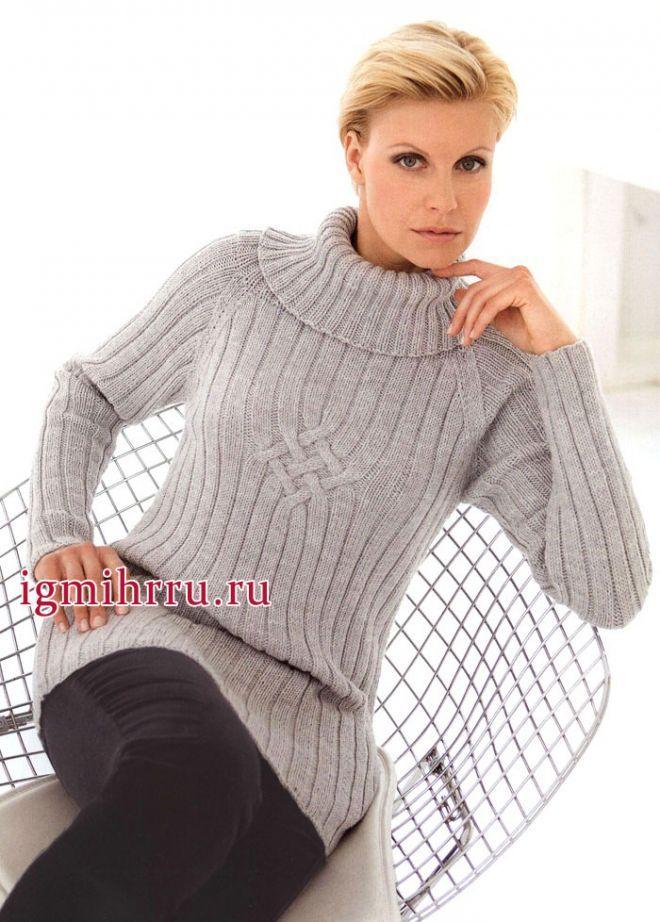 Теплый и мягкий пуловер-реглан в резинку и узором с перекрещиваниями. Вязание…