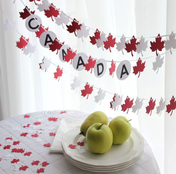 Canada Day Red and White Maple Leaf Party Pack by GFetti on Etsy, $20.00