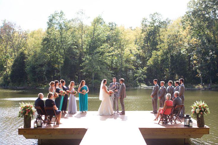 wedding ceremony on dock, lake wedding