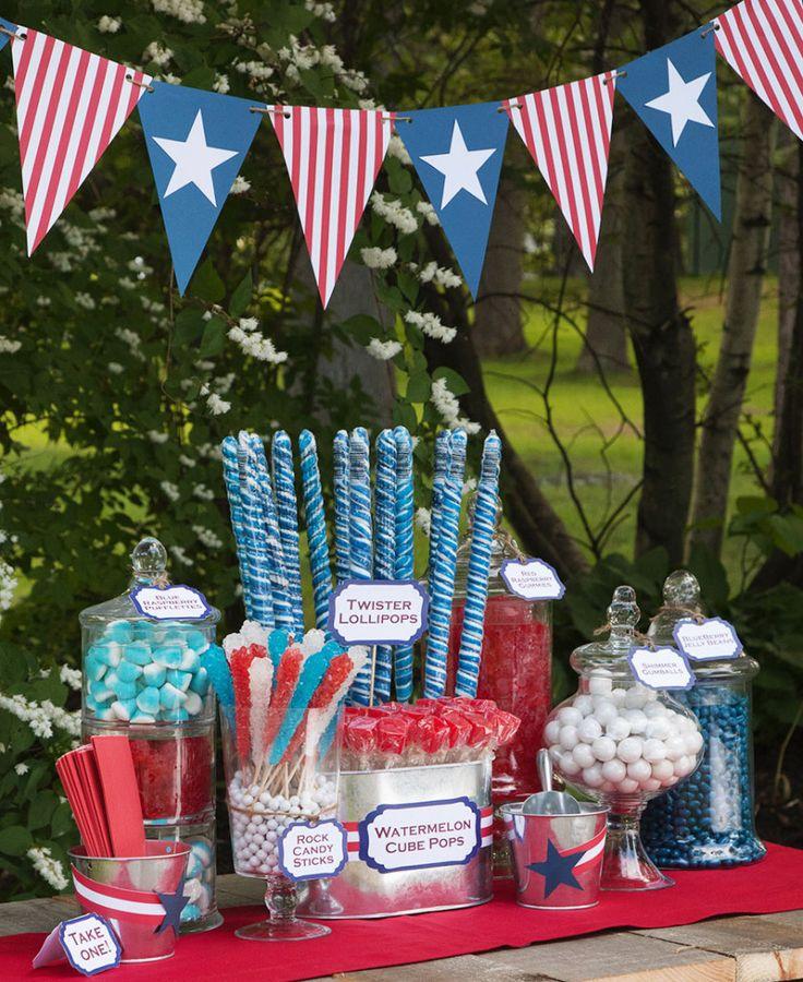 Buffet lollipops gummy jelly bean gum rock candy red white blue flag backyard party celebration patriot...