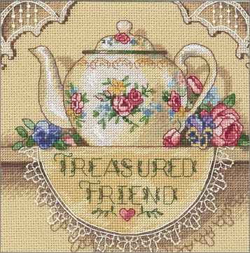 Cross Stitch Craze: Teapot Cross Stitch Treasured Friend