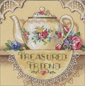 Cross Stitch Craze: Teapot Cross Stitch Treasured Friend