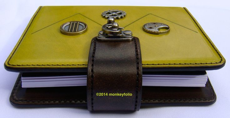 Refillable Leather A6 Folio - Zigzag Steampunk - Chartreuse / Brown