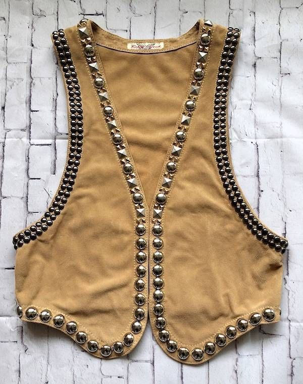 NEW DESIGNER ROBIN VINTAGE STUDDED SUEDE LEATHER COWGIRL COUNTRY WESTERN VEST #RobinsJeans
